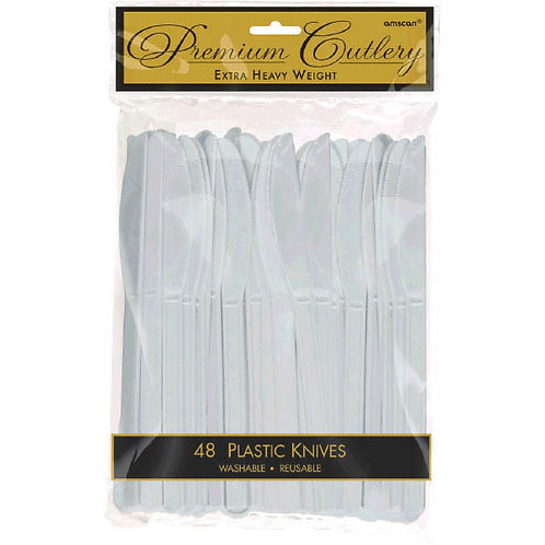 Silver Plastic Knives 48ct
