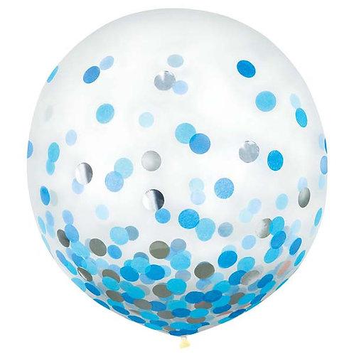 Blue & Silver Confetti 24in Latex Balloons 2ct