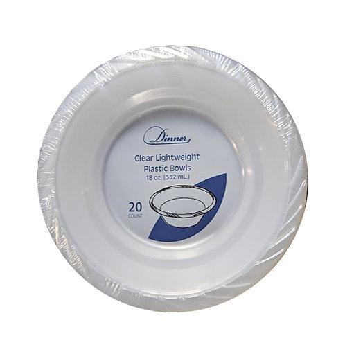 Clear 18oz Plastic Bowls 20ct