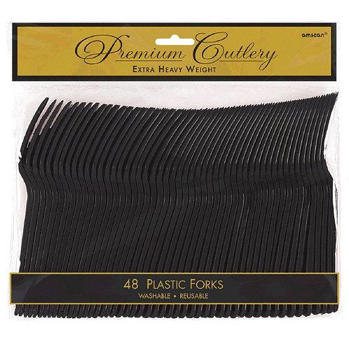 Black Plastic Forks 48ct
