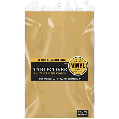 Gold Flannel-Backed Vinyl Tablecloth