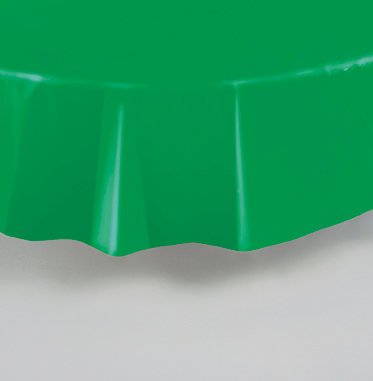 """Emerald Green Round Plastic Table Cover 84"""""""
