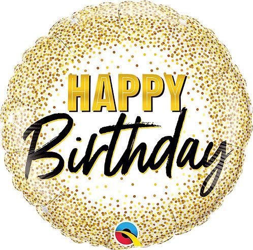 #310 Birthday Gold Glitter Dots 18in Balloon