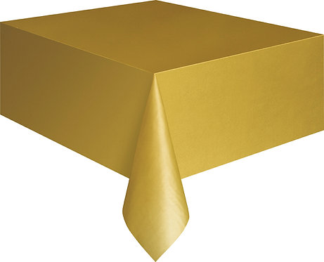 "Gold Rectangular Plastic Table Cover 54""x108"""