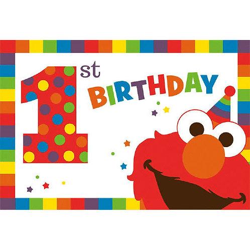 Sesame Street Elmo Turns One Invitations 8ct