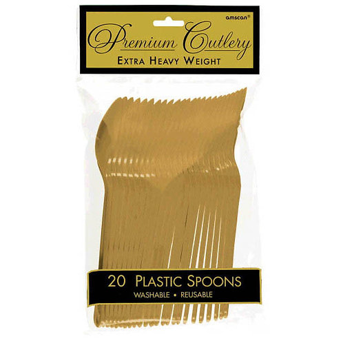 Gold Plastic Spoons 20ct