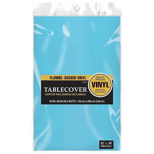 Caribbean Blue Flannel-Backed Vinyl Tablecloth