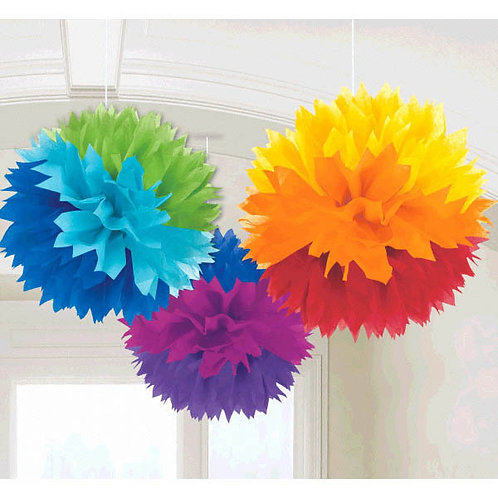 Fluffy Paper Decorations 16in 3ct - Assorted Colors