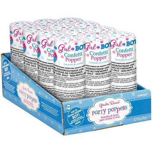 Boy Confetti Poppers 12 ct