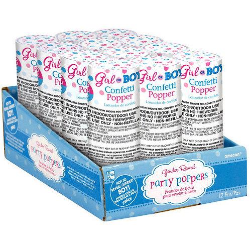 Boy Confetti Poppers 12 ct