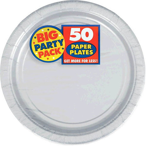 Silver 9in Paper Plates 50ct