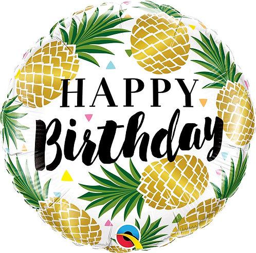 #311 Birthday Golden Pineapples 18in Balloon