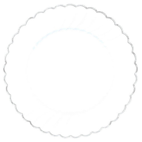 "7 1/2"" Scalloped Plate W/ Metal Trim - White - 20ct"