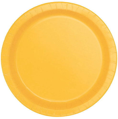 "Yellow Round 9"" Dinner Plates 16ct"