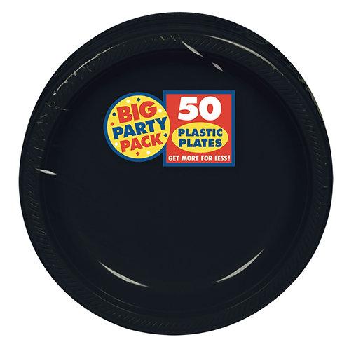 Black 7in Plastic Plates 50ct