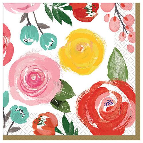 Bright Florals Beverage Napkins - 16ct