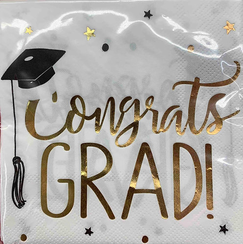 Congrats Grad Hot-Stamped Beverage Napkins 16ct