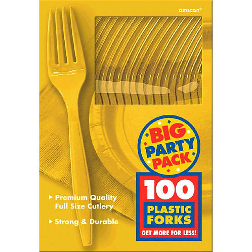 Yellow Value Plastic Forks 100ct