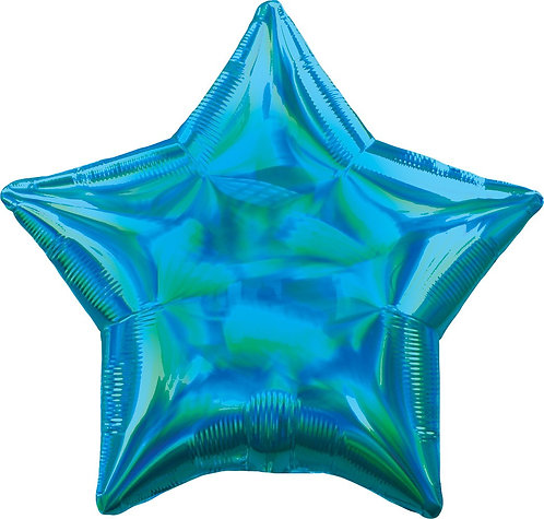 #675 Inflated Iridescent Caribbean Blue Star 18in Mylar Balloon