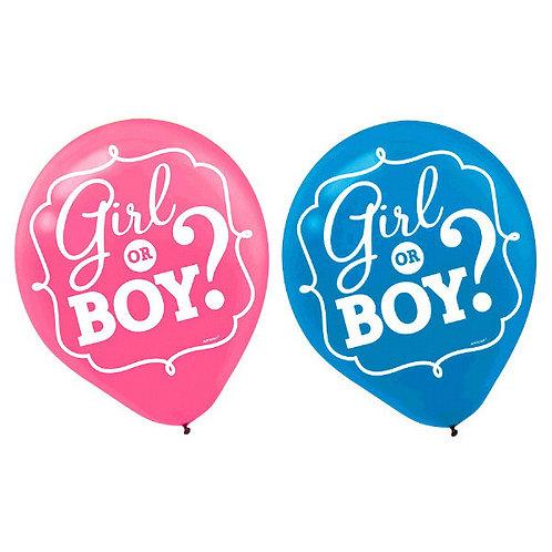 Girl or Boy? Latex Balloons 15ct