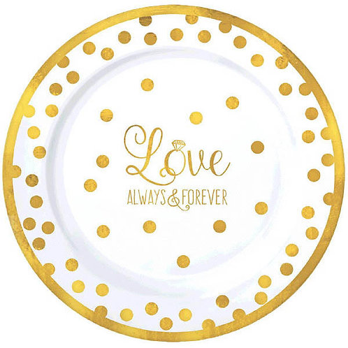 """""""Love"""" Premium Plastic Dessert Plates 20ct"""