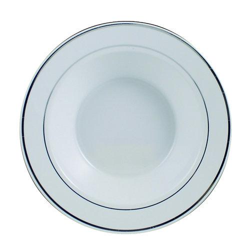 Regal White 12oz Plastic Bowls With Silver Trim 12ct