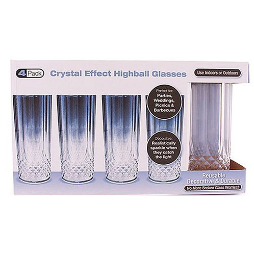 Crystal Like Plastic Highball Glasses 4ct