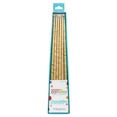 Gold Metallic 10in Taper Candles 12ct