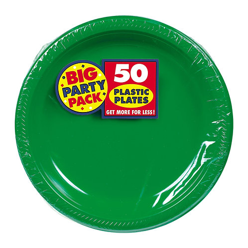 Green 7in Plastic Plates 50ct