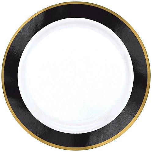 Black Border Premium 7in Plastic Plates 10ct