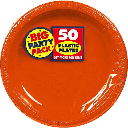 Orange 10in Plastic Plates 50ct