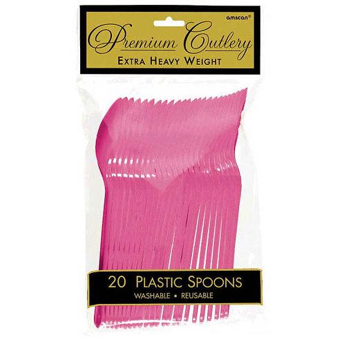 Bright Pink Plastic Spoons 20ct