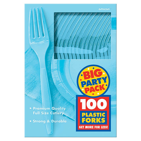 Caribbean Blue Value Plastic Forks 100ct