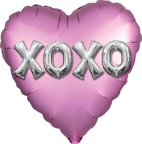 #518 Satin XOXO 18in Mylar Balloon