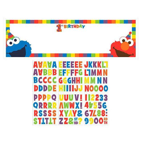 Sesame Street Elmo Turns One Personalized Giant Banner Kit
