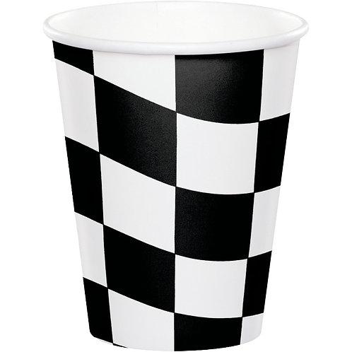 Black & White Check Paper Cups 8ct