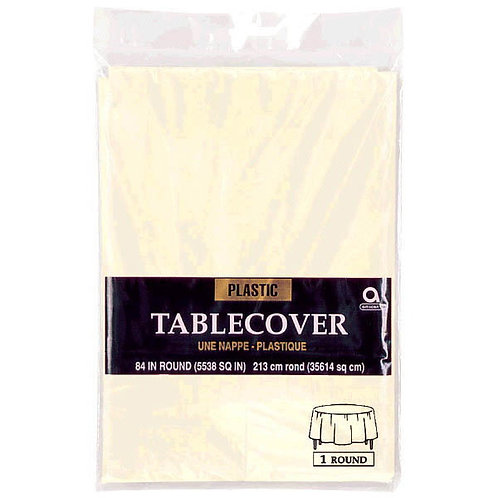 Vanilla Creme Round Plastic Table Cover, 84""
