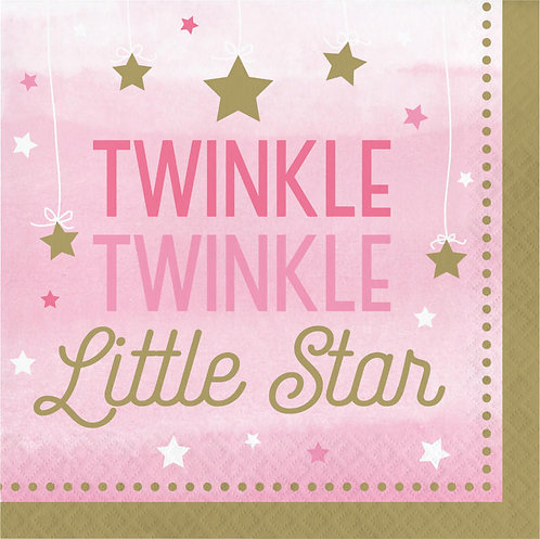 One Little Star Girl Twinkle Lunch Napkins 16ct