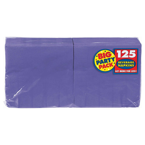 Purple Beverage Napkins 125ct