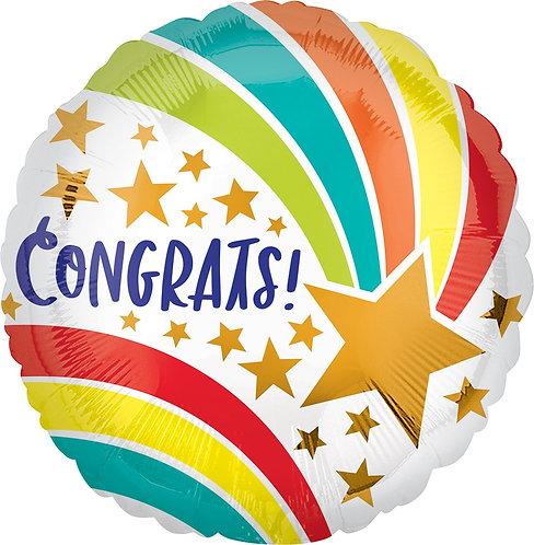 #488 Congrats Shooting Star 18in Mylar Balloon
