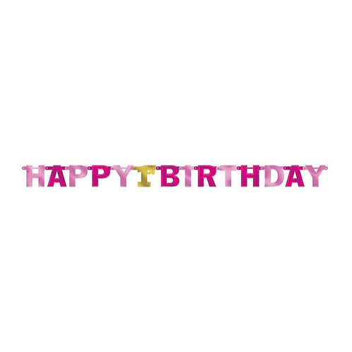 1st Birthday Girl Large Foil Letter Banner