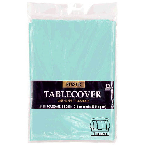 """Robins Egg Blue Round Plastic Table Cover, 84"""""""