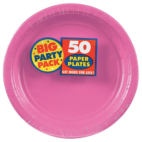 Bright Pink 9in Paper Plates 50ct