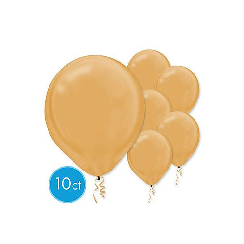 Gold Pearl Latex Balloons - Packaged, 10ct