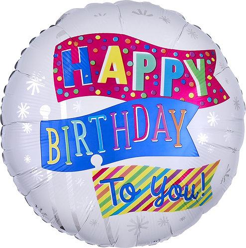 #331 Happy Birthday Fun Flags 18in Balloon