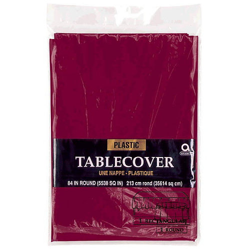 """Berry Round Plastic Table Cover, 84"""""""