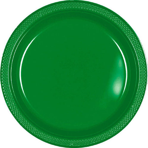 Green 7in Plastic Plates 20ct