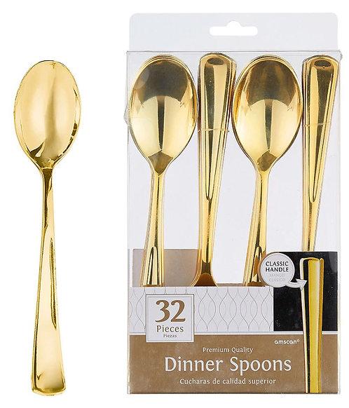 Gold Premium Plastic Dinner Spoons 32ct