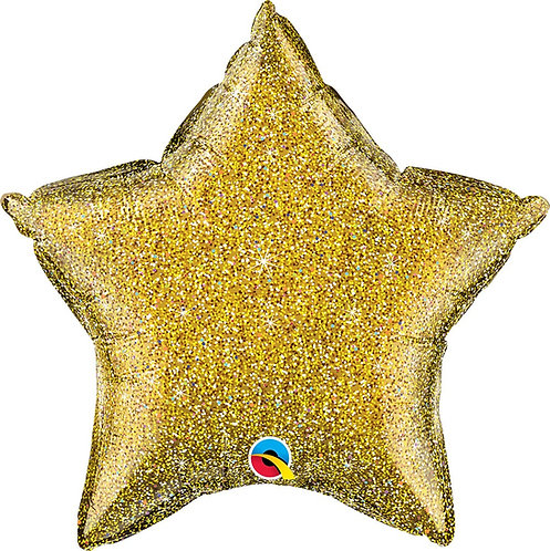 #694 Inflated Gold Glitter Star 18in Mylar Balloon