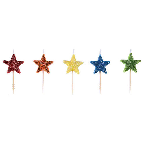 Star Icon Molded Pick Candles 5ct